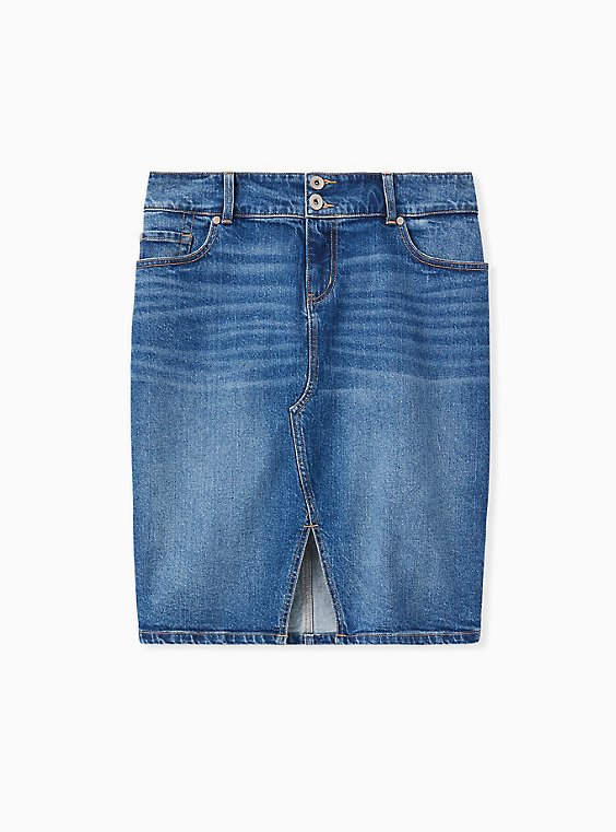 Denim Slit Front Pencil Skirt - Medium Wash , , hi-res