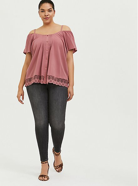 Plus Size Dusty Rose Challis Cold Shoulder Button Blouse , WITHERED ROSE PINK, alternate