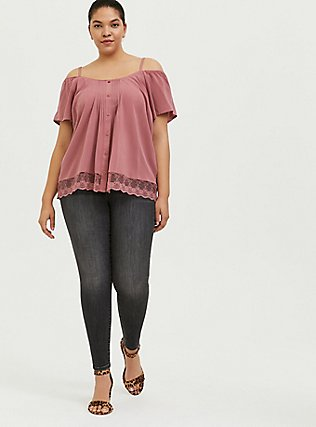 Dusty Rose Challis Cold Shoulder Button Blouse , WITHERED ROSE PINK, alternate