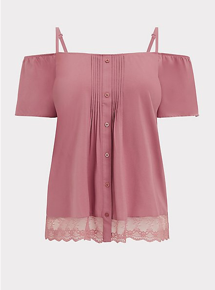 Plus Size Dusty Rose Challis Cold Shoulder Button Blouse , WITHERED ROSE PINK, hi-res
