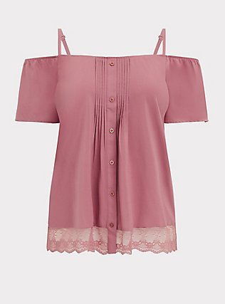Plus Size Dusty Rose Challis Cold Shoulder Button Blouse , WITHERED ROSE PINK, flat