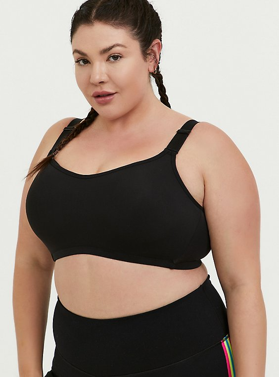 Plus Size Black Wireless Wicking Sports Bra, , hi-res