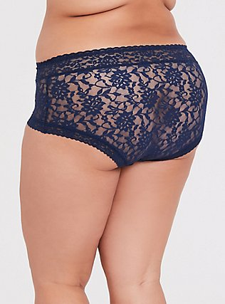 Plus Size Navy Lacey Brief Panty, INDIGO GARDEN, alternate