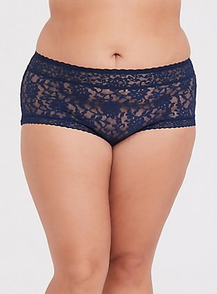 Plus Size Navy Lacey Brief Panty, INDIGO GARDEN, hi-res