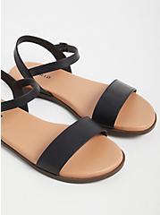 Black Faux Leather Ankle Strap Sandal (WW), BLACK, alternate