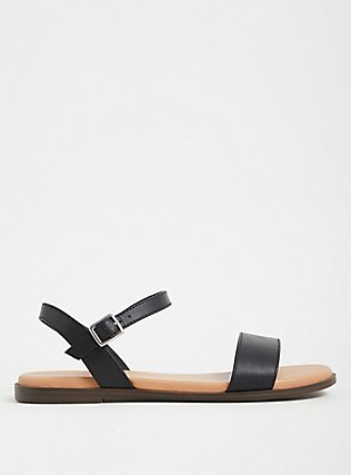 Black Faux Leather Ankle Strap Sandal (WW), BLACK, alternate