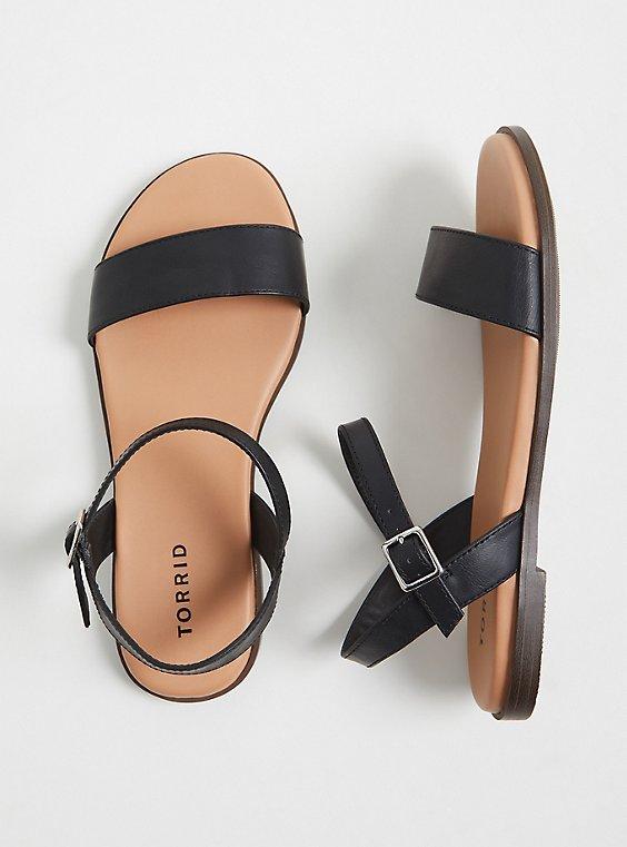 Plus Size Black Faux Leather Ankle Strap Sandal (WW), , hi-res