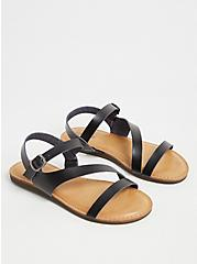 Black Faux Leather Asymmetric Gladiator Sandal (WW), BLACK, alternate