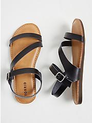 Black Faux Leather Asymmetric Gladiator Sandal (WW), BLACK, hi-res