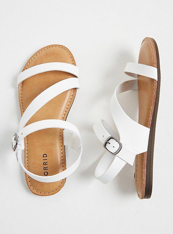 White Faux Leather Asymmetric Gladiator Sandal (WW), , hi-res