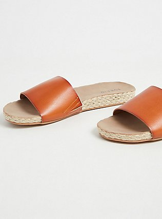 Cognac Faux Leather Espadrille Slide (WW), COGNAC, alternate