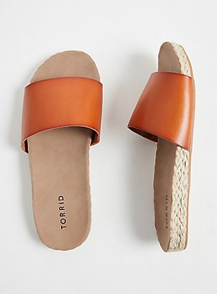 Cognac Faux Leather Espadrille Slide (WW), COGNAC, hi-res