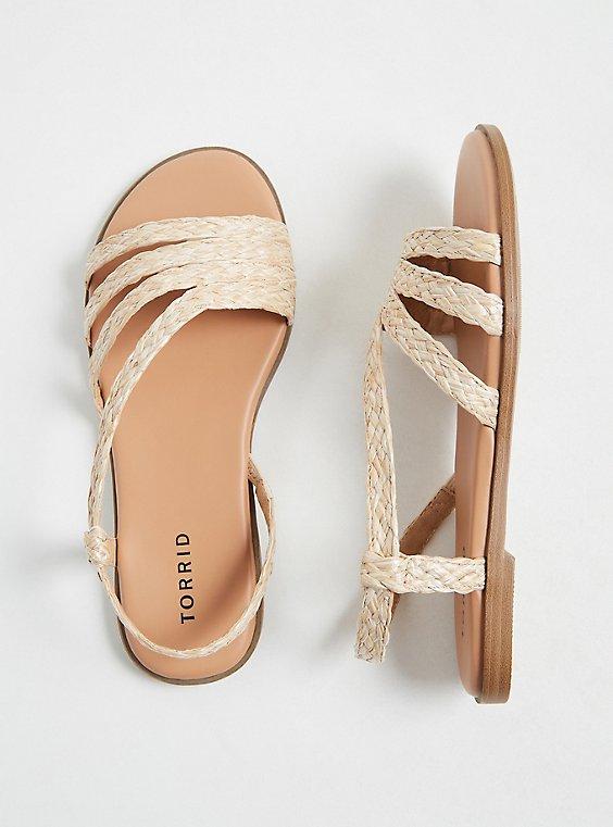 Plus Size Tan Woven Jute Slingback Sandal (WW), , hi-res