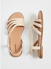 Plus Size Tan Woven Jute Slingback Sandal (WW), TAN/BEIGE, hi-res
