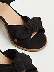 Black Faux Suede Bow Front Espadrille Block Heel (WW), BLACK, alternate