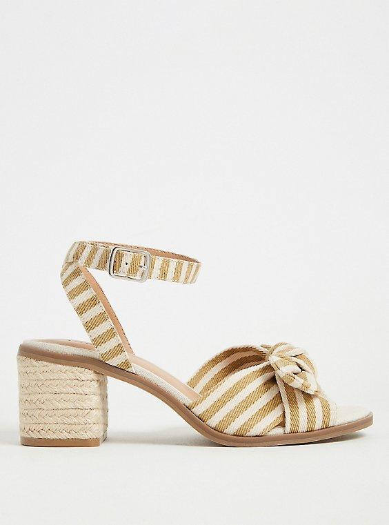 Beige Stripe Bow Front Espadrille Block Heel (WW), , hi-res
