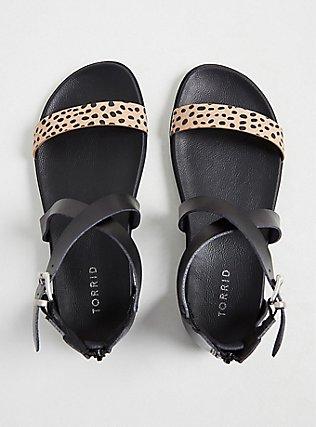 Plus Size Leopard & Black Faux Leather Gladiator Sandal (WW), ANIMAL, alternate