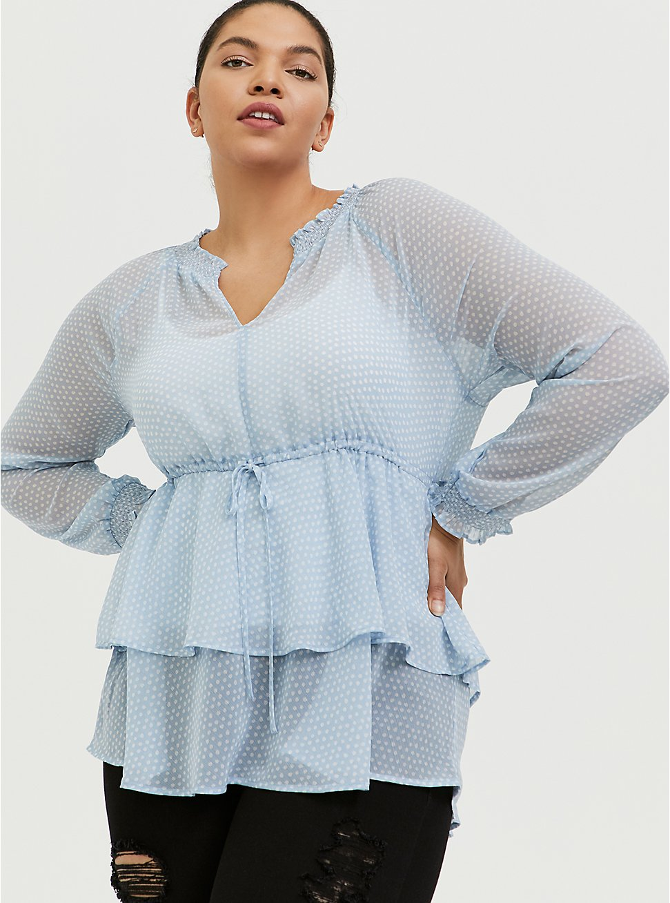 Light Blue Swiss Dot Layered Peasant Blouse, DOT - BLUE, hi-res