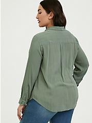 Plus Size Madison - Light Olive Green Crinkled Gauze Button Front Blouse, AGAVE GREEN, alternate