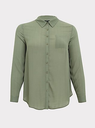 Plus Size Madison - Light Olive Green Crinkled Gauze Button Front Blouse, AGAVE GREEN, flat