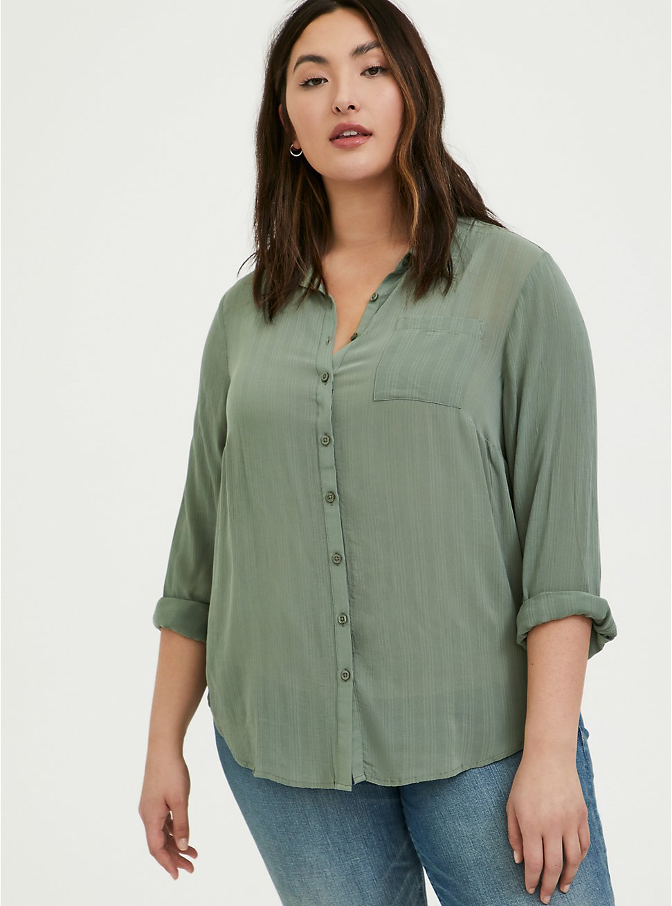 Plus Size Madison - Light Olive Green Crinkled Gauze Button Front Blouse, AGAVE GREEN, hi-res