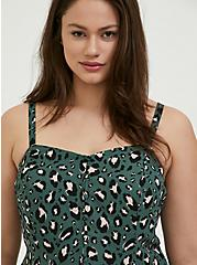 Green Leopard Georgette Button Fit & Flare Cami, MULTI, alternate