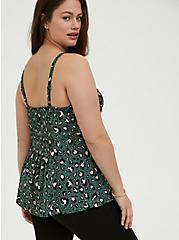 Plus Size Green Leopard Georgette Button Fit & Flare Cami, MULTI, alternate