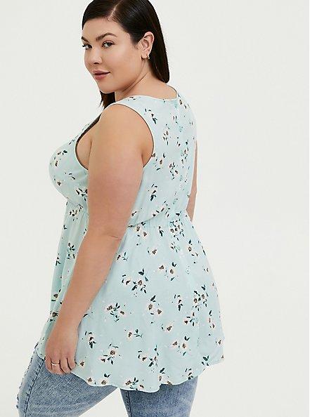 Plus Size Mint Blue Floral Challis Button Back Hi-Lo Babydoll Tank, FLORAL - BLUE, alternate