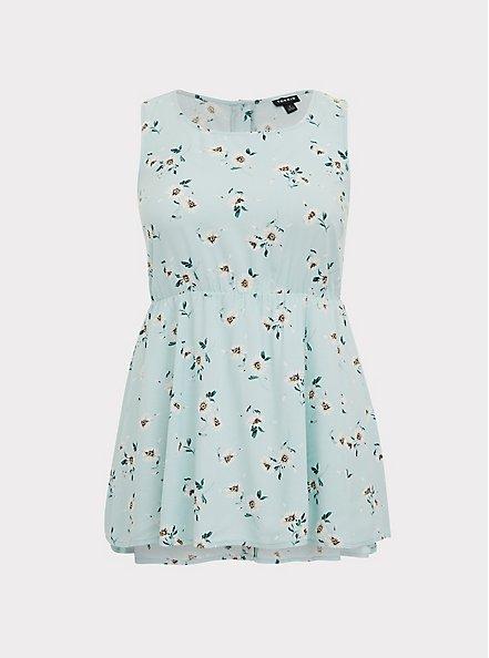 Plus Size Mint Blue Floral Challis Button Back Hi-Lo Babydoll Tank, FLORAL - BLUE, hi-res