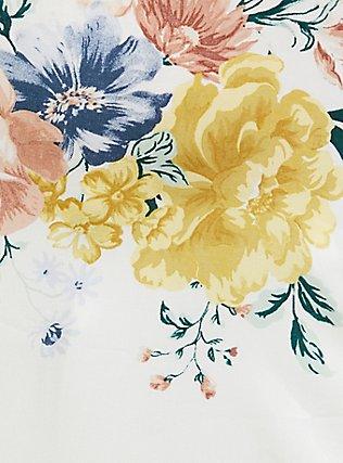 White Floral Challis Button Back Hi-Lo Babydoll Tank, FLORAL - WHITE, alternate