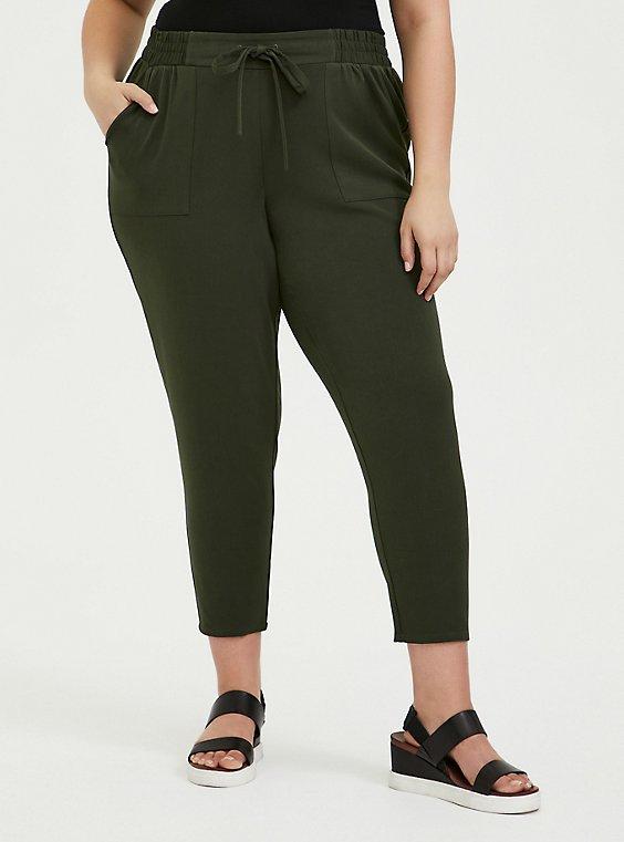 Olive Green Twill Drawstring Jogger, , hi-res