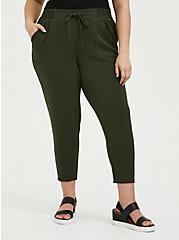 Plus Size Olive Green Twill Drawstring Jogger, ROSIN, hi-res