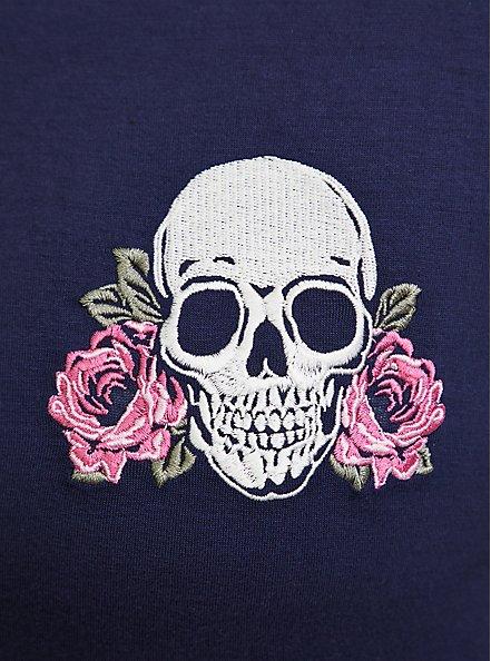 Plus Size Navy Floral Skull Jersey Sleep Tee, NAVY, alternate