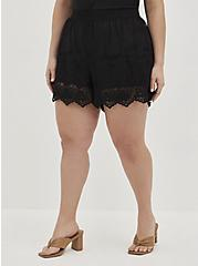 Embroidered Short - Mesh Black , DEEP BLACK, alternate