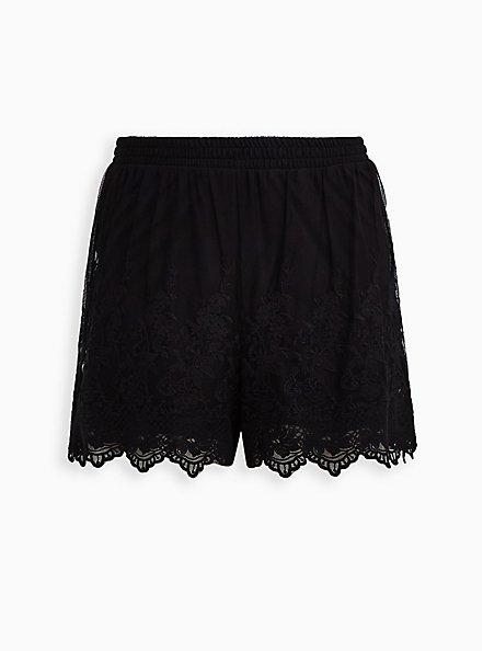 Black Mesh Embroidered Short, DEEP BLACK, hi-res