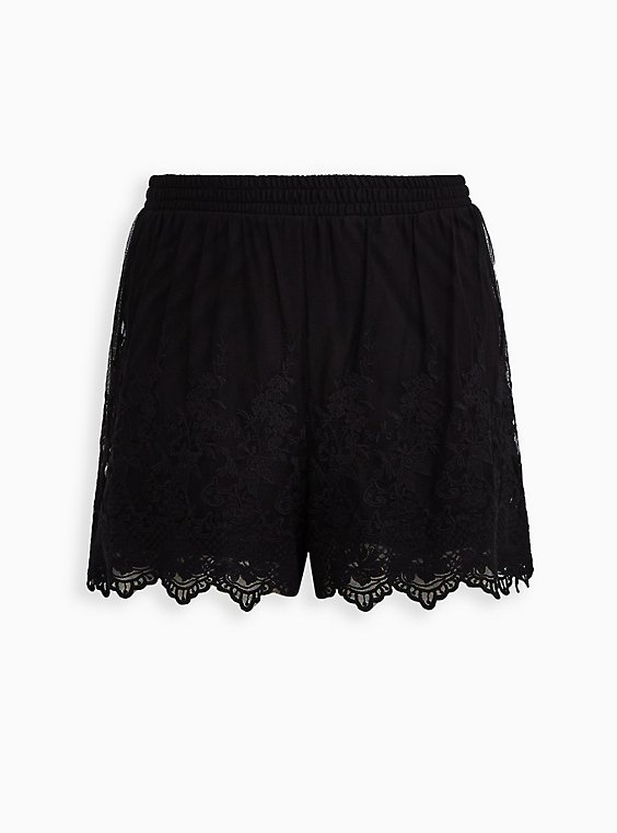 Black Mesh Embroidered Short, , flat