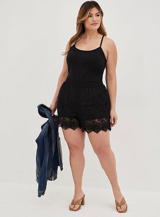 Black Mesh Embroidered Short, , hi-res