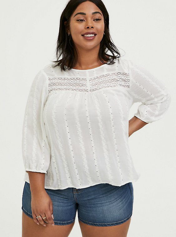 Plus Size White Eyelet & Lace Embroidered Hi-Lo Blouse, , hi-res