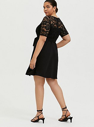 Black Ponte & Lace Overlay Self Tie Skater Dress, DEEP BLACK, alternate
