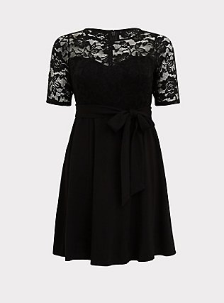 Black Ponte & Lace Overlay Self Tie Skater Dress, DEEP BLACK, flat