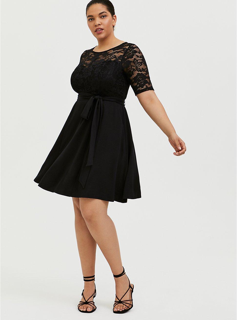 Plus Size Black Ponte & Lace Overlay Self Tie Skater Dress, DEEP BLACK, hi-res