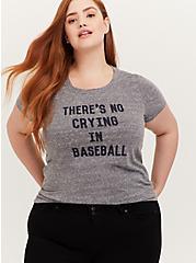League of Their Own Baseball Heather Grey Triblend Crew Tee, MEDIUM HEATHER GREY, hi-res