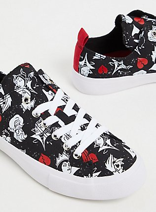 Plus Size Disney Villains Black Canvas Sneaker (WW), BLACK, alternate