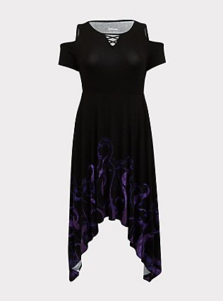 Plus Size Her Universe Disney The Little Mermaid Ursula Tentacle Dress , DEEP BLACK, flat