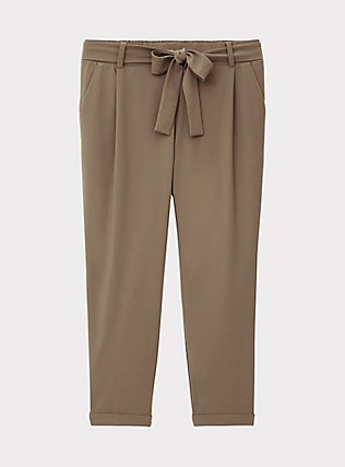 Dark Taupe Crepe Self Tie Tapered Pant, FALCON, flat
