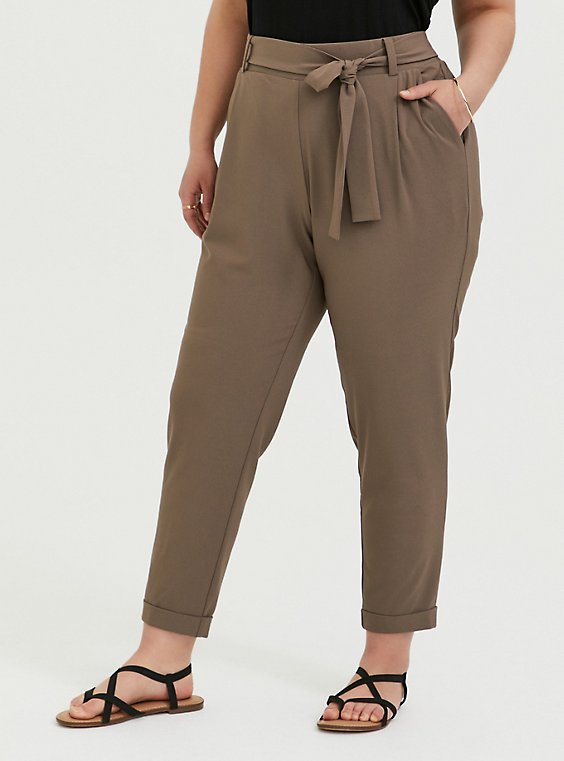 Dark Taupe Crepe Self Tie Tapered Pant, , hi-res