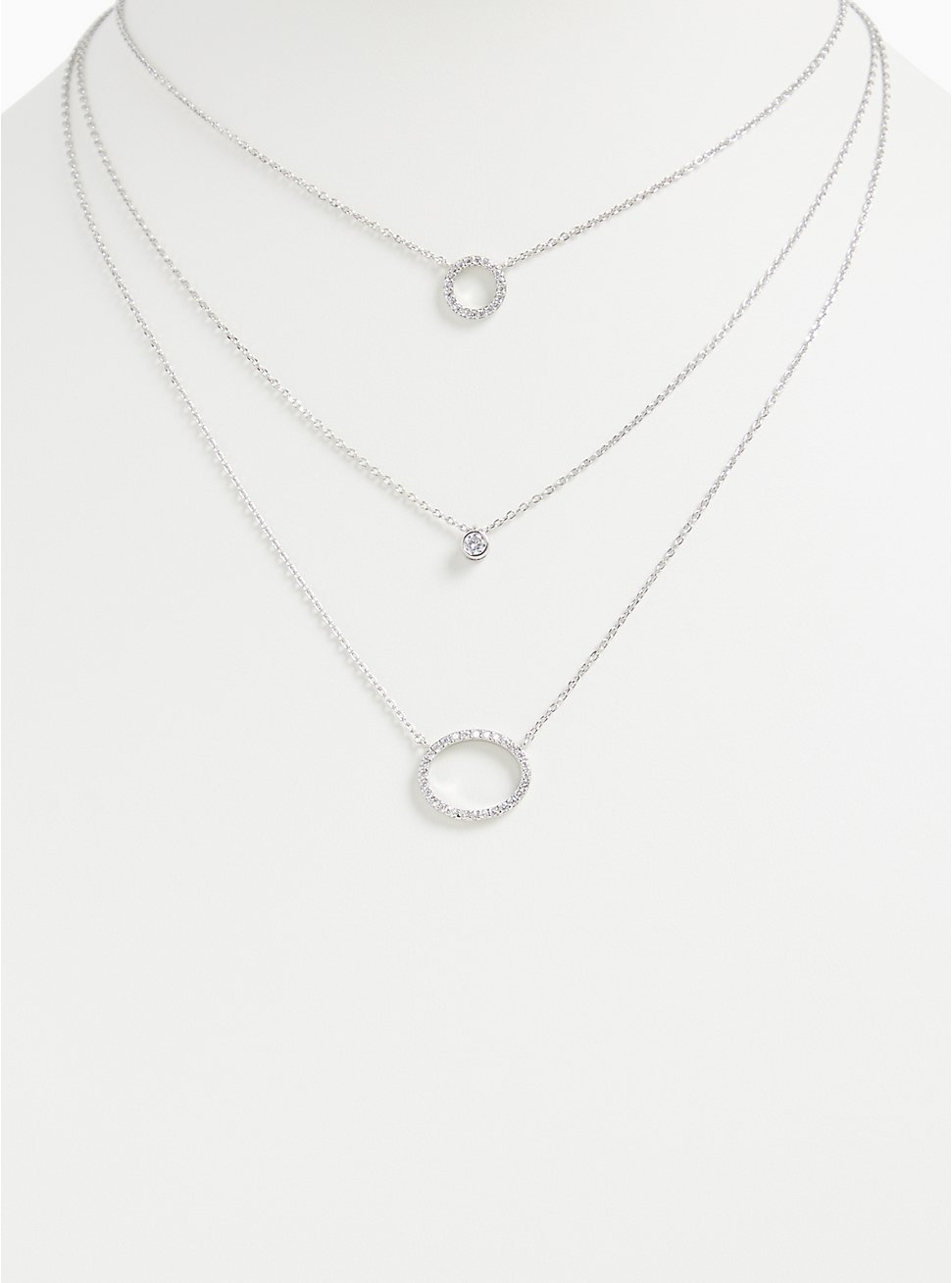 Silver-Tone Pave Circle Layered Necklace , , hi-res