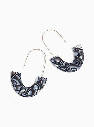 Plus Size Black Resin Marble Crescent Earrings, , alternate