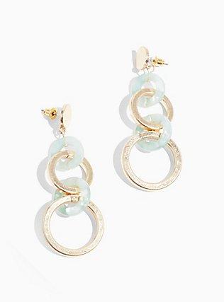 Plus Size Gold-Tone & Mint Green Dangle Earrings, , hi-res