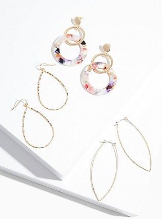 Plus Size Multicolor Dangle Earrings Set - Set of 3 , , hi-res